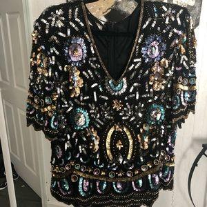 Vintage sequin vneck blouse